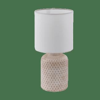 Επιτραπέζιο φωτιστικό E14 1Χ40W, κεραμικό κρεμ με λευκό & λευκό υφασμάτινο καπέλο BELLARIVA 97773