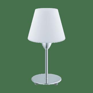 Επιτραπέζιο φωτιστικό E14 1Χ60W από χρωμιομένο ατσάλι και λευκό γυαλί οπαλίου DAMASCO1 95786