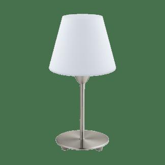 Επιτραπέζιο φωτιστικό E14 1Χ60W, σατινέ νίκελ & λευκό γυαλί οπαλίου DAMASCO1 95785