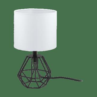 Επιτραπέζιο φωτιστικό E14 1Χ60W, ύψος 30,5cm, βάση μεταλλική σε μαύρο & λευκό υφασμάτινο καπέλο CARLTON2 95789