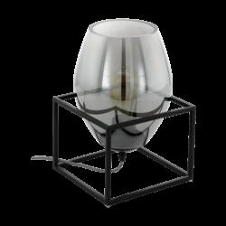 Επιτραπέζιο φωτιστικό E27 1Χ40W, ύψος 30.5cm, βάση μαύρο μέταλλο & καπνισμένο διάφανο γυαλί OLIVAL1 97209