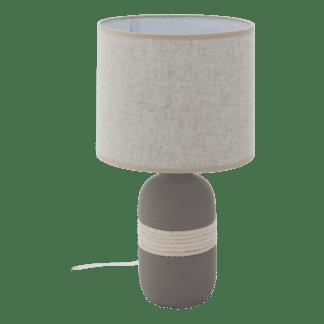 Επιτραπέζιο φωτιστικό E27 1Χ60W, κεραμικό γκρι με μπεζ υφασμάτινο καπέλο SORITA1 97097