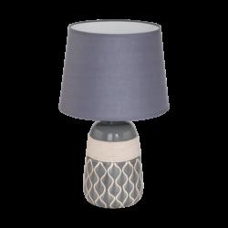 Επιτραπέζιο φωτιστικό E27 1Χ60W, κεραμικό γκρι & μπεζ με γκρι υφασμάτινο καπέλο BELLARIVA2 97776