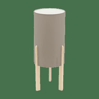 Επιτραπέζιο φωτιστικό E27 1Χ60W, ύψος 40cm, βάση ξύλινη & υφασμάτινο καπέλο taupe CAMPODINO 97893