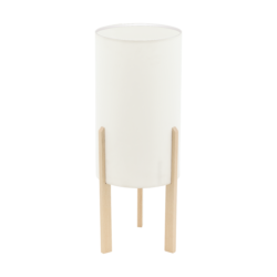 Επιτραπέζιο φωτιστικό E27 1Χ60W, ύψος 40cm, βάση ξύλινη & υφασμάτινο μπεζ καπέλο CAMPODINO 97891