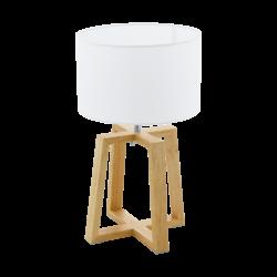Επιτραπέζιο φωτιστικό E27 1Χ60W, ύψος 44cm, βάση ξύλινη & υφασμάτινο λευκό καπέλο CHIETINO1  97516