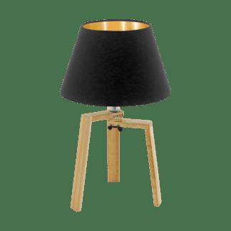 Επιτραπέζιο φωτιστικό E27 1Χ60W, ύψος 44cm, βάση ξύλινη & υφασμάτινο μαύρο με χρυσό καπέλο CHIETINO 97515
