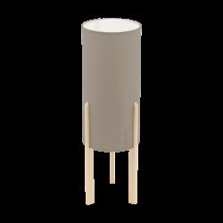 Επιτραπέζιο φωτιστικό E27 1Χ60W, ύψος 50cm, βάση ξύλινη & υφασμάτινο καπέλο taupe CAMPODINO 97894