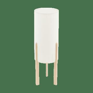 Επιτραπέζιο φωτιστικό E27 1Χ60W, ύψος 50cm, βάση ξύλινη & υφασμάτινο μπεζ καπέλο CAMPODINO 97892