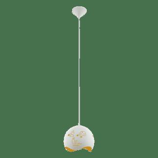 Κρεμαστό φωτιστικό Ø25cm Ε27 μονόφωτο, μεταλλικό λευκό-κίτρινο LAURINA 97392