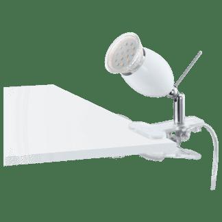 Φωτιστικό με clip(μανταλάκι) LED 3W, θερμό λευκό φως 3000Κ, μέταλλο λευκό BANNY1 93118