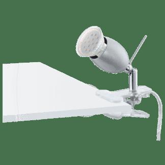 Φωτιστικό με clip(μανταλάκι) LED 3W, θερμό λευκό φως 3000Κ, μέταλλο σε ασημί BANNY1 93119