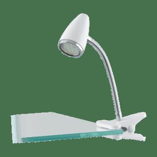 Φωτιστικό με clip(μανταλάκι) LED 3W, θερμό λευκό φως 3000Κ, μέταλλο σε χρώμιο & πλαστικό λευκό RICCIO1 94329