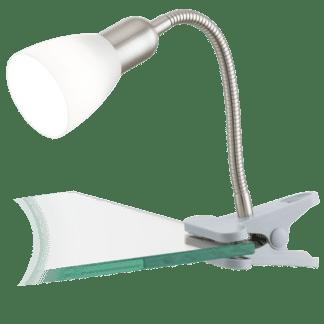 Φωτιστικό με clip(μανταλάκι) LED 4W, θερμό λευκό φως 3000Κ, μέταλλο ασημί & λευκό πλαστικό DAKAR3 92932