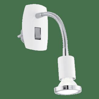 Φωτιστικό πρίζας spot LED 3W, θερμό λευκό φως 3000Κ, μέταλλο λευκό με χρώμιο MINI4 92934