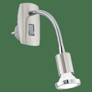 Φωτιστικό πρίζας spot LED 3W, θερμό λευκό φως 3000Κ, μέταλλο σατινέ νίκελ με χρώμιο MINI4 92933