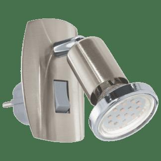 Φωτιστικό πρίζας spot LED 3W, θερμό λευκό φως 3000Κ, μέταλλο σατινέ νίκελ & χρώμιο MINI4 92924