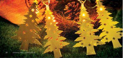 Χριστουγεννιάτικα δέντρα 10 LED σε χρώμα χρυσό, θερμό λευκό φως, με διάφανο καλώδιο, 220-240V (27-00203)