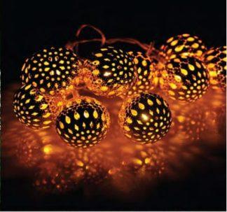 Μπάλες διάτρητες 10 LED σε χρώμα χαλκού, Ø60mm, θερμό λευκό φως, με διάφανο καλώδιο, 220-240V (27-00352)