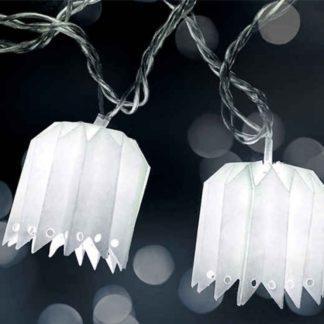 Φαναράκια χάρτινα 10 LED σε χρώμα λευκό, ψυχρό λευκό φως, με διάφανο καλώδιο, 220-240V (27-00355)