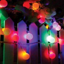 Mini Globe (σφαιρίδια) 50 LED σε χρώμα RGB, Ø25mm, φως RGB, με λευκό καλώδιο, 220-240V (27-00360)