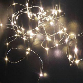 Φωτάκια σε σύρμα ασημί, 30 LED, 3m με Μπαταρία, θερμό λευκό φως κωδ: 27-00601