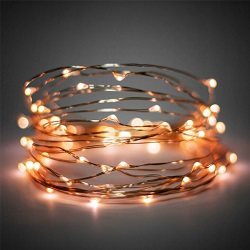 Φωτάκια Σε Σύρμα Ασημί με Χάλκινο Φως 30 LED 3m με Μπαταρία κωδ: 27-00602