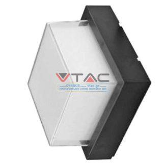 LED αδιάβροχη απλίκα 12W IP65 3000K Θερμό λευκό Μαύρο σώμα τετράγωνη V-TAC 8543