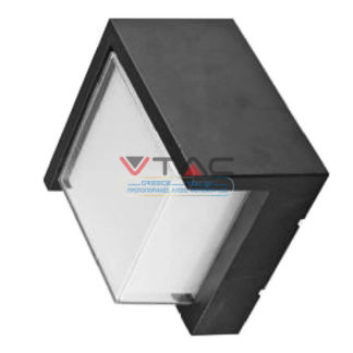LED αδιάβροχη απλίκα 12W IP65 3000K Θερμό λευκό Μαύρο σώμα τετράγωνη V-TAC 8539