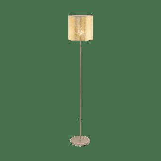 Επιδαπέδιο Φωτιστικό με Σαμπανιζέ Μέταλλο & Χρυσό Υφασμάτινο Καπέλο Eglo Viserbella 97647