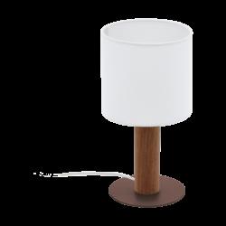 Επιτραπέζιο Φωτιστικό Ύψους 30cm, Μέταλλο, Ξύλο & Λευκό Καπέλο Eglo Concessa3 97681