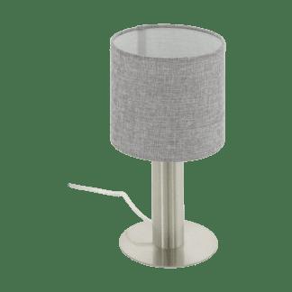 Επιτραπέζιο Φωτιστικό Ύψους 30cm Μέταλλο Σατινέ Νίκελ με Καπέλο Λινό Γκρι Eglo Concessa2 97675
