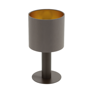 Επιτραπέζιο Φωτιστικό Ύψους 30cm Σκούρο Καφέ με Καπέλο Cappuccino+Χρυσό Eglo Concessa 97686