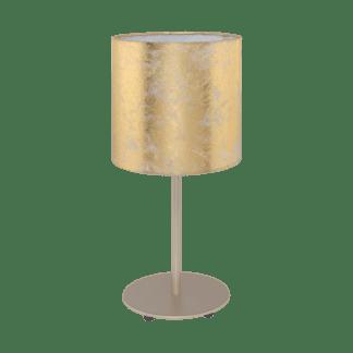 Επιτραπέζιο Φωτιστικό-Πορτατίφ με Σαμπανιζέ Μέταλλο & Χρυσό Υφασμάτινο Καπέλο Eglo Viserbella 97646