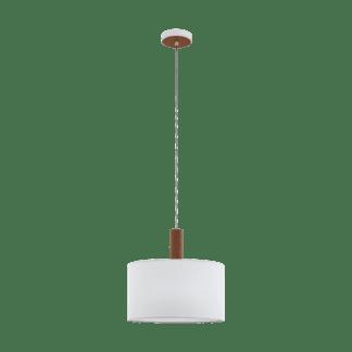 Κρεμαστό Φωτιστικό Μονόφωτο Ø38cm Μέταλλο, Ξύλο & Λευκό Καπέλο Eglo Concessa3 97676