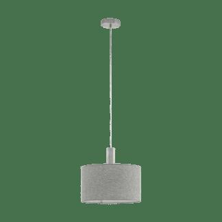 Κρεμαστό Φωτιστικό Μονόφωτο Ø38cm μέταλλο σατινέ νίκελ με Καπέλο Λινό Γκρι Eglo Concessa2 97671