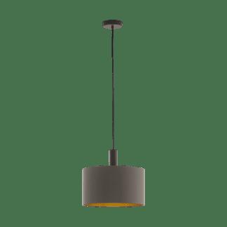 Κρεμαστό Φωτιστικό Μονόφωτο Ø38cm με Σκούρο Καφέ+Χρυσό Καπέλο Eglo Concessa 97682