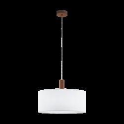 Κρεμαστό Φωτιστικό Μονόφωτο Ø53cm Μέταλλο, Ξύλο & Λευκό Καπέλο Eglo Concessa3 97677