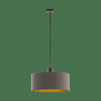 Κρεμαστό Φωτιστικό Μονόφωτο Ø53cm Σκούρο Καφέ με Καπέλο Cappuccino+Χρυσό Eglo Concessa 97683