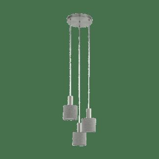 Κρεμαστό Φωτιστικό Τρίφωτο σε Ροζέτα Μέταλλο Σατινέ Νίκελ με Καπέλο Λινό Γκρι Eglo Concessa2 97673