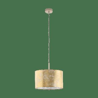 Φωτιστικό κρεμαστό μονόφωτο Ø38cm, χρυσό-σαμπανιζέ υφασμάτινο EGLO VISERBELLA 97643
