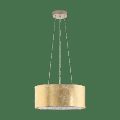 Φωτιστικό κρεμαστό τρίφωτο Ø53cm, χρυσό-σαμπανιζέ υφασμάτινο EGLO VISERBELLA 97644