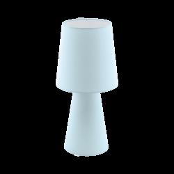 Επιτραπέζιο φωτιστικό Υ47cm δίφωτο 2x12W, Ε27 με ύφασμα σε χρώμα παστέλ ανοιχτό μπλε CARPARA 97432