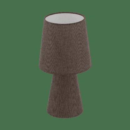 Επιτραπέζιο φωτιστικό δίφωτο Ε14 2x5,5W, Υ34cm με ύφασμα λινό καφέ CARPARA 97123