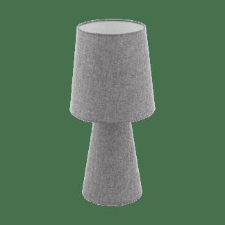 Επιτραπέζιο φωτιστικό δίφωτο Ε27 2x12W, Υ47cm με ύφασμα λινό γκρι CARPARA 97132