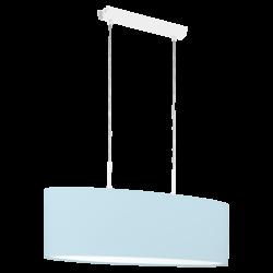 Κρεμαστό φωτιστικό δίφωτο 2x60W, μήκους 75cm με ύφασμα σε χρώμα παστέλ ανοιχτό μπλε PASTERI-P 97387