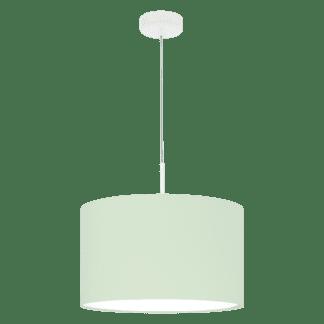 Κρεμαστό φωτιστικό μονόφωτο Ø38cm με ύφασμα σε χρώμα παστέλ ανοιχτό πράσινο PASTERI-P 97377