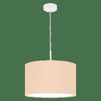 Κρεμαστό φωτιστικό μονόφωτο Ø38cm με ύφασμα σε χρώμα παστέλ βερίκοκο PASTERI-P 97561