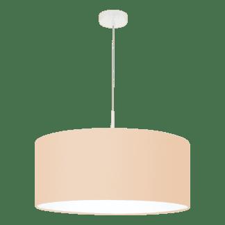 Κρεμαστό φωτιστικό μονόφωτο Ø53cm με ύφασμα σε χρώμα παστέλ βερίκοκο PASTERI-P 97562