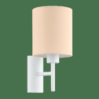 Φωτιστικό απλίκα Υ30,5cm με καπέλο υφασμάτινο σε χρώμα παστέλ βερίκοκο PASTERI-P 97564